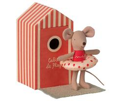 Maileg - Beach mice, Little sister in Cabin de Plage - Pre-order: Expected in stock from 1-5-2021