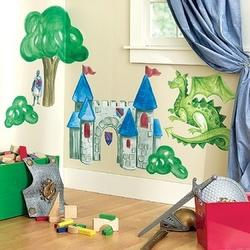 Wall stickers with castle, large dragon and trees
