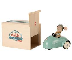 Maileg - Mouse with cart and garage blue - is expected to be in stock from 2-11-2020