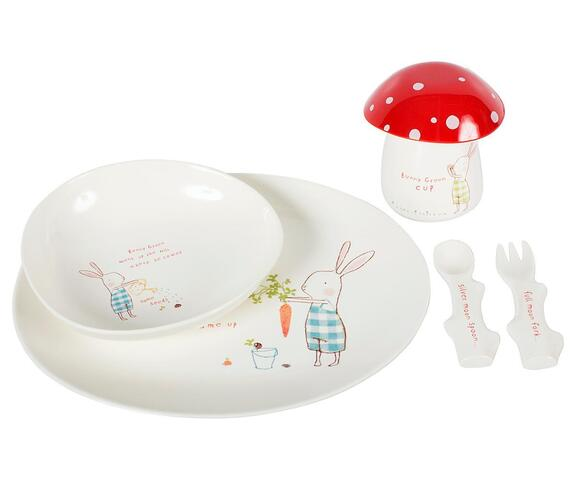 Maileg - Dining set for children - Bunny Green Melamin -  (plate, bowl, fork, spoon and cup with egg holder