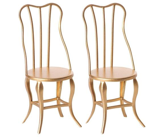 Maileg - Vintage chairs micro in gold - set of 2 pcs.