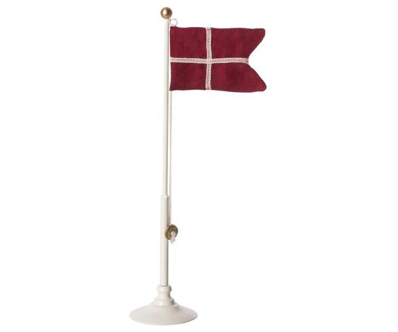 Maileg - Danish flag - Metal flagpole - 25,5 cm.
