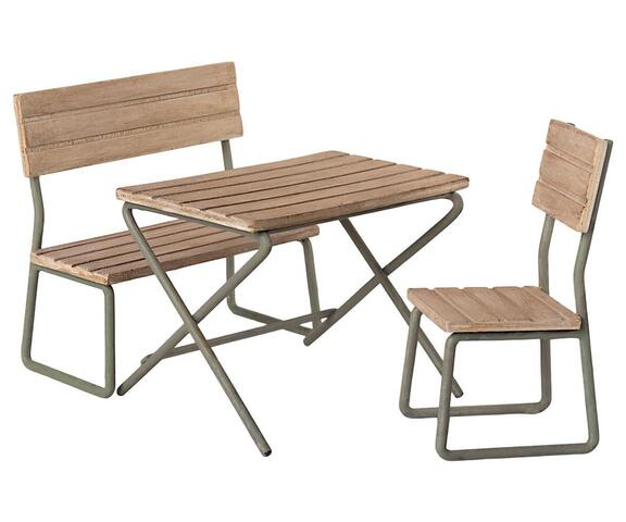 Maileg - Garden set - Table with chair and bench - Pre-ordered - Expected in stock from 1-6-2021