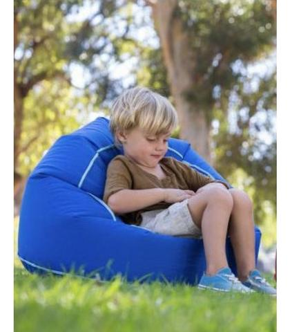 EZAir, Rangi Chair - Blue. Slightly inflatable chair that just needs to be shaken - vupti you have a chair. Can be used by both children and adults. At camping, in the garden or at the festival.