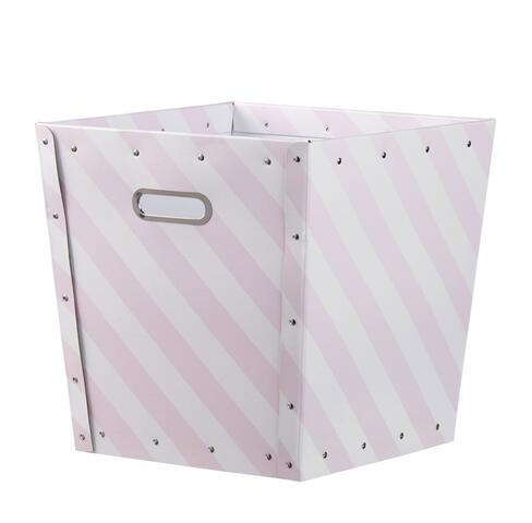 Storage box striped pink / white