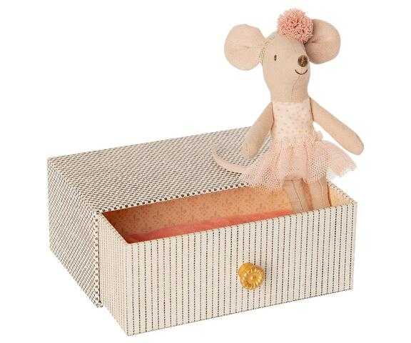 Maileg - Dancing mouse in box - Dancing mouse in daybed, Little sister