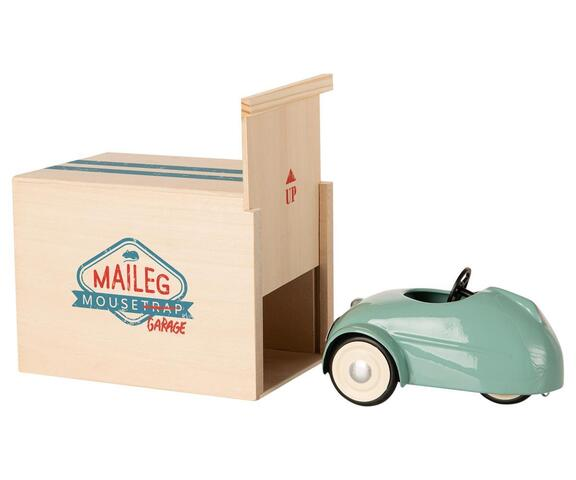 Maileg - Mouse with cart and garage blue - expected in stock from 2-11-2020