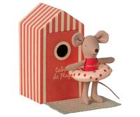 Maileg - Beach mice, Little sister in Cabin de Plage - Pre-order: Expected in stock from 4-6-2021